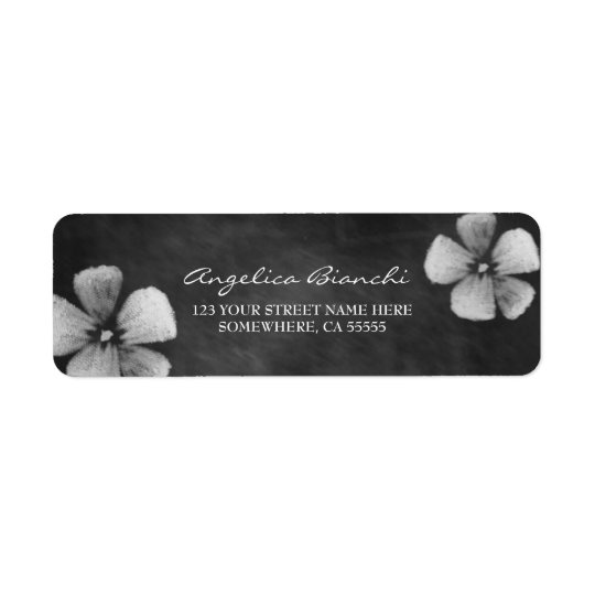 Elegant Chalkboard Flowers Return Address Label