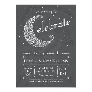 Elegant Chalkboard Moon Celebration 5x7 Paper Invitation Card