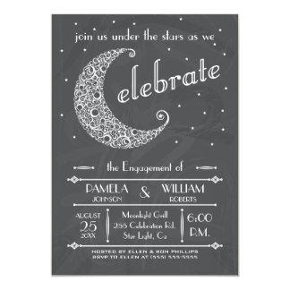 "Elegant Chalkboard Moon Celebration 5"" X 7"" Invitation Card"