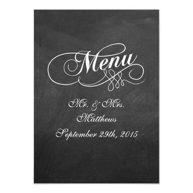 Elegant Chalkboard Wedding Menu Templates 11 Cm X 16 Cm Invitation Card | Zazzle