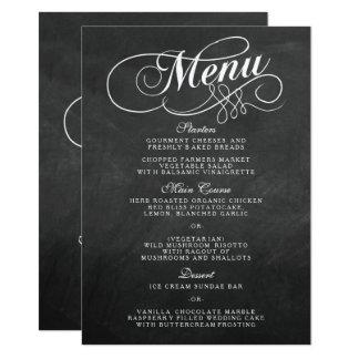 Elegant Chalkboard Wedding Menu Templates Card