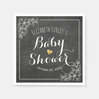 Elegant Chalkboard White Floral Frame Baby Shower Disposable Serviette