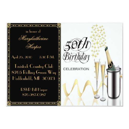 Elegant Champagne 50th Birthday Party Invitation