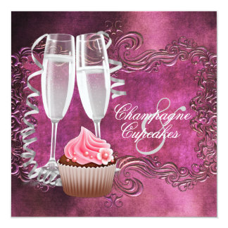 Elegant Champagne and Cupcake Bridal Shower Invite