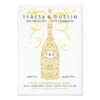 Elegant Champagne Bottle Engagement Party 13 Cm X 18 Cm Invitation Card