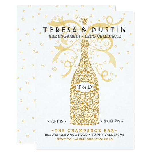 Elegant Champagne Bottle Engagement Party Card