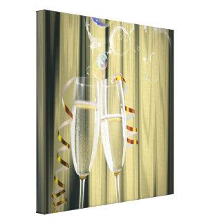 elegant Champagne glasses celebration party Canvas Prints