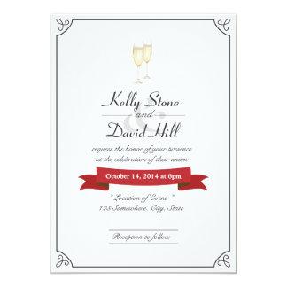 Elegant Champagne Toast Wedding Invitations