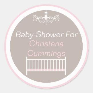 Elegant Chandelier Baby Shower Round Sticker Pink