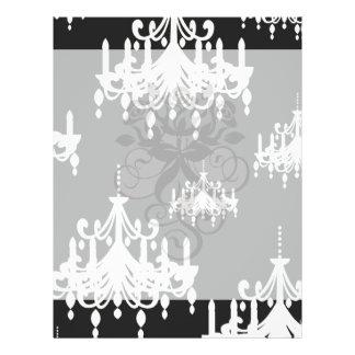 elegant chandelier black white damask 21.5 cm x 28 cm flyer