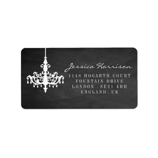 Elegant Chandelier Chalkboard Wedding Collection Address Label