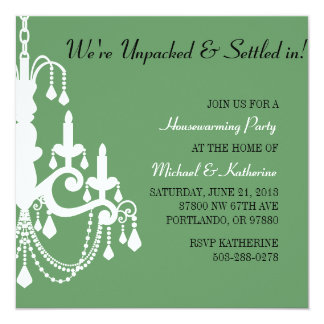Elegant Chandelier Housewarming Party Invitation