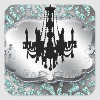 Elegant Chandelier Real Estate Salon Leopard Bling Square Sticker