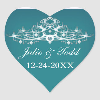 Elegant Chandelier Save The Date Wedding Heart Sticker