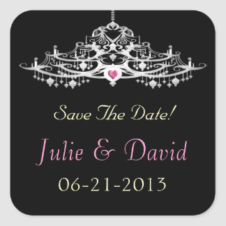 Elegant Chandelier Save The Date Wedding Square Sticker