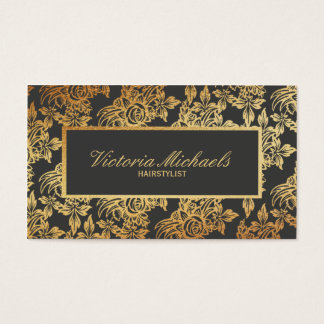 Elegant Charcoal and Gold Floral Business Cards
