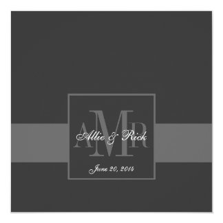 Elegant Charcoal Gray Monogram Wedding Invitation