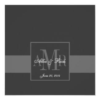Elegant Charcoal Grey Monogram Wedding Invitation