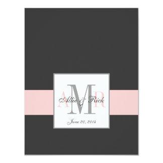 Elegant Charcoal Pink Monogram Wedding RSVP 11 Cm X 14 Cm Invitation Card