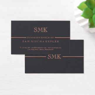 Elegant Charcoal & Rose Gold Monogram Business Card