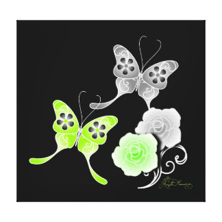 Elegant Chartreuse And Black Butterflies And Roses Canvas Print