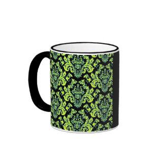 Elegant Chartreuse Turquoise Vintage Damask Design Coffee Mug