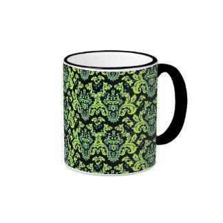 Elegant Chartreuse Turquoise Vintage Damask Design Mug