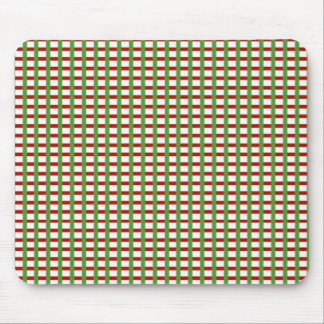 Elegant CHECKS: Red Green White Add Text Image Mouse Pad