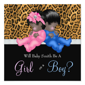Elegant Cheetah Baby Gender Reveal Shower Card