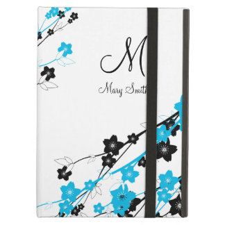 Elegant Cherry Blossom Custom Monogram Blue Cover For iPad Air
