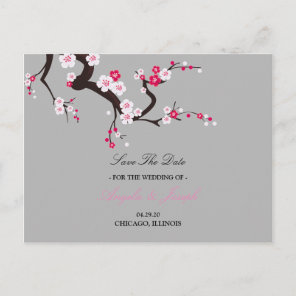 Elegant Cherry Blossom Pink  floral save the date Announcement Postcard