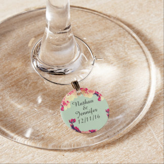 Elegant Cherry Blossoms on Rustic Teal Wine Charms