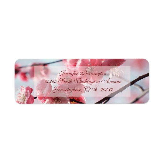 Elegant cherry blossoms return address labels