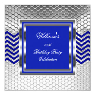Elegant Chevron Blue Silver Birthday Party Mens Card