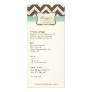 Elegant Chevron Modern beige green Service Menu Rack Cards