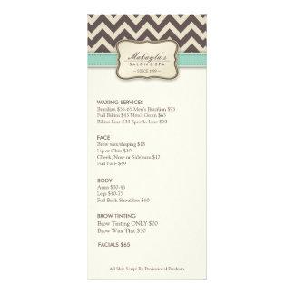 Elegant Chevron Modern beige & green Service Menu Rack Cards