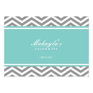 Elegant Chevron Modern Gray & White with tif blue Pack Of Chubby Business Cards