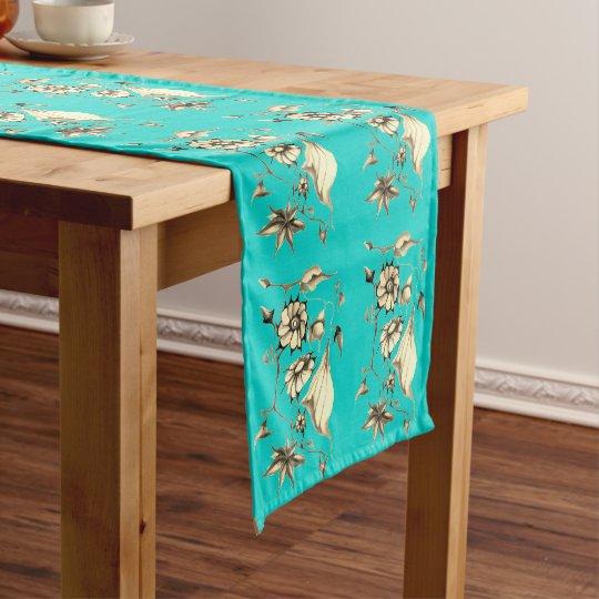 Elegant Chic  Aqua Whimsical Exotic Sepia Short Table Runner