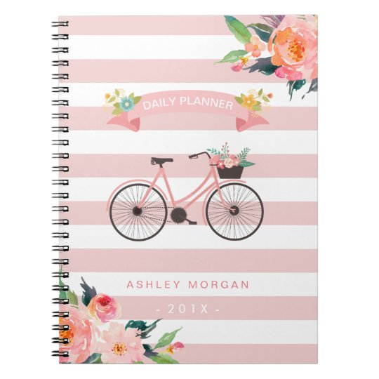 Elegant Chic Bicycle Floral Girly Pink Stripes Spiral