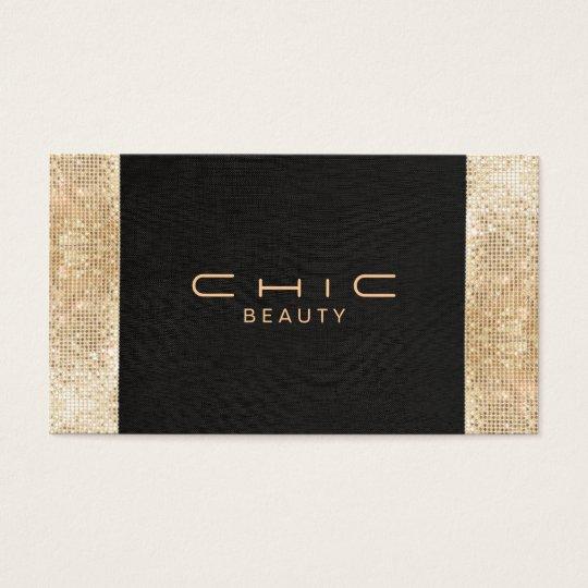 Elegant Chic Black Faux Gold Sequin Beauty Business
