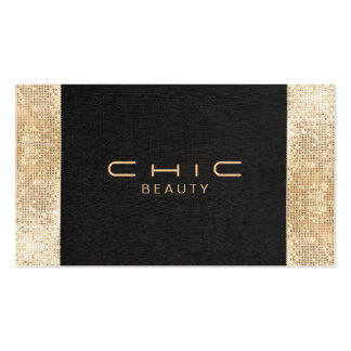 Elegant Chic Black Faux Gold Sequin Beauty Pack Of Standard Business Cards