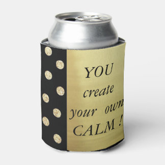 Elegant Chic Black Gold Dots-Motivational Message Can Cooler