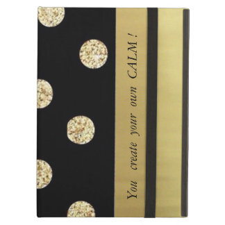 Elegant Chic Black Gold Dots-Motivational Message Case For iPad Air