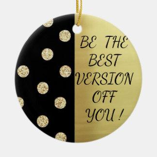 Elegant Chic Black Gold Dots-Motivational Message Christmas Ornament