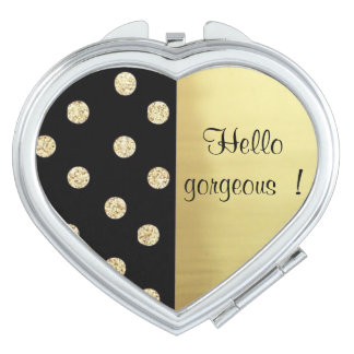 Elegant Chic Black Gold Dots-Motivational Message Vanity Mirrors