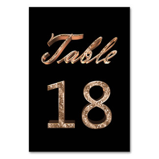 Elegant Chic Black Gold Party Table Number 18