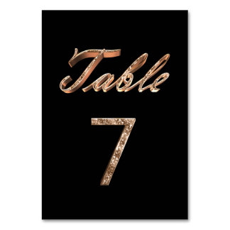 Elegant Chic Black Gold Party Table Number 7
