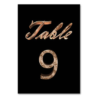 Elegant Chic Black Gold Party Table Number 9