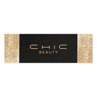 Elegant Chic Black Linen Gold Sequin Beauty Pack Of Skinny Business Cards