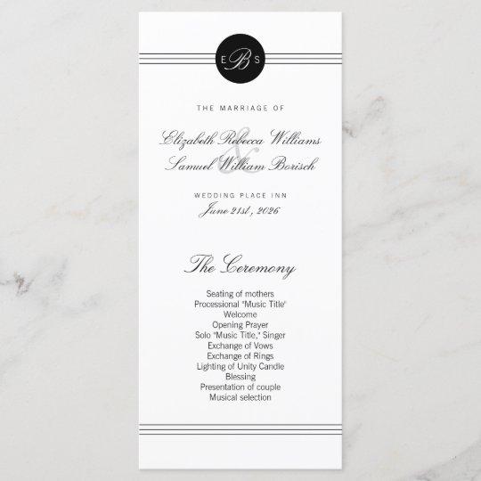 elegant chic black white monogram wedding program programme zazzle